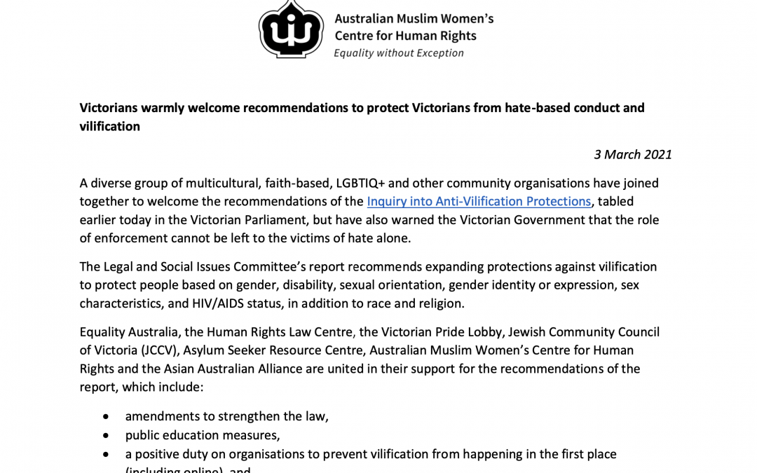 Press Release: Recommendations to protect Victorians from hate-based conduct and vilification